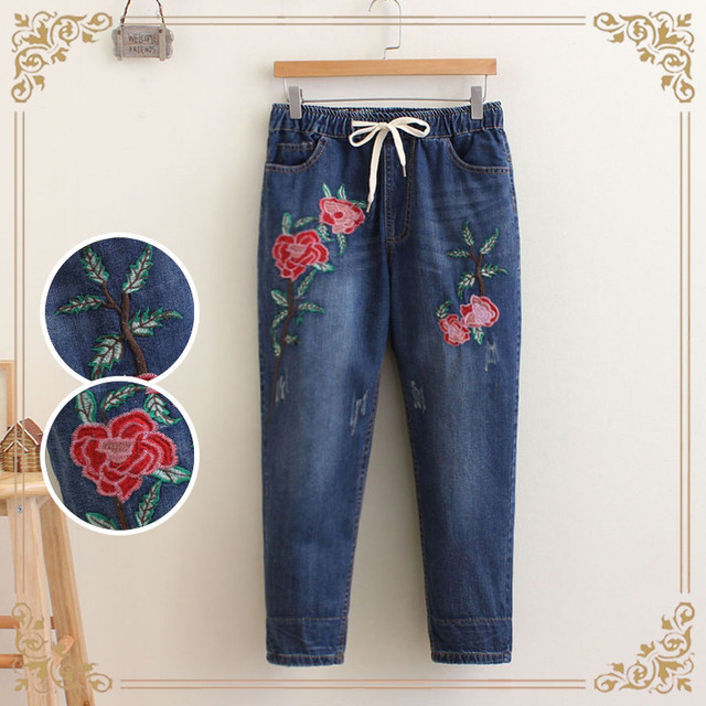 107eae154b 2018 Spring Autumn New National Casual Embroidered Floral Large Size  Vintage Women s Jeans Drawstring Wasit Calf