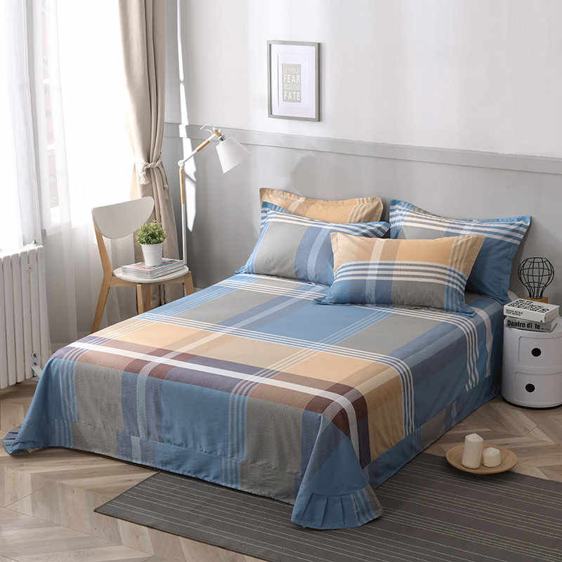 Colorful twin flat sheets king size plaid plaid bed sheets queen size 100% cotton bed lines multicolor grids bedsheet