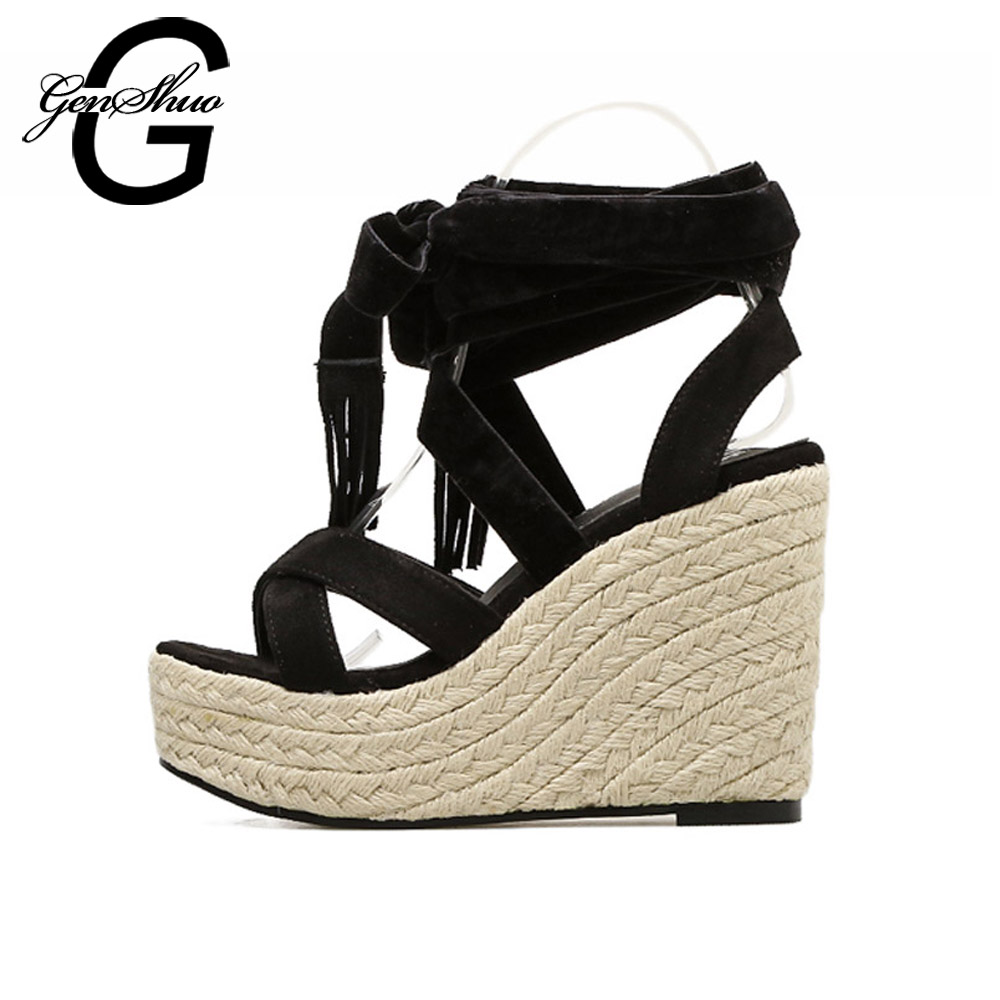 186006b56f6 Sandals Women Open Toe Strappy Ankle Strap Black Shoes Sexy Summer Sandals  Wedges 12 cm Comfortable Thick High Heel Shoes
