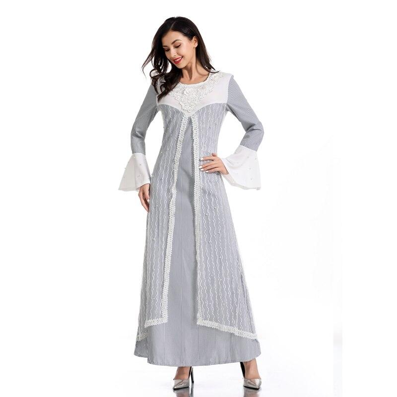 Lace Vestidos Kaftan Abaya Turkey Muslim Dress Women Caftan Islamic Dress Ramadan Elbise Hijab Dresses Robe Musulmane Longue
