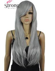 Strongbeauty Длинные слоистые прямо серебристо-серый синтетический парик костюма Косплэй Искусственные парики выбор цвета