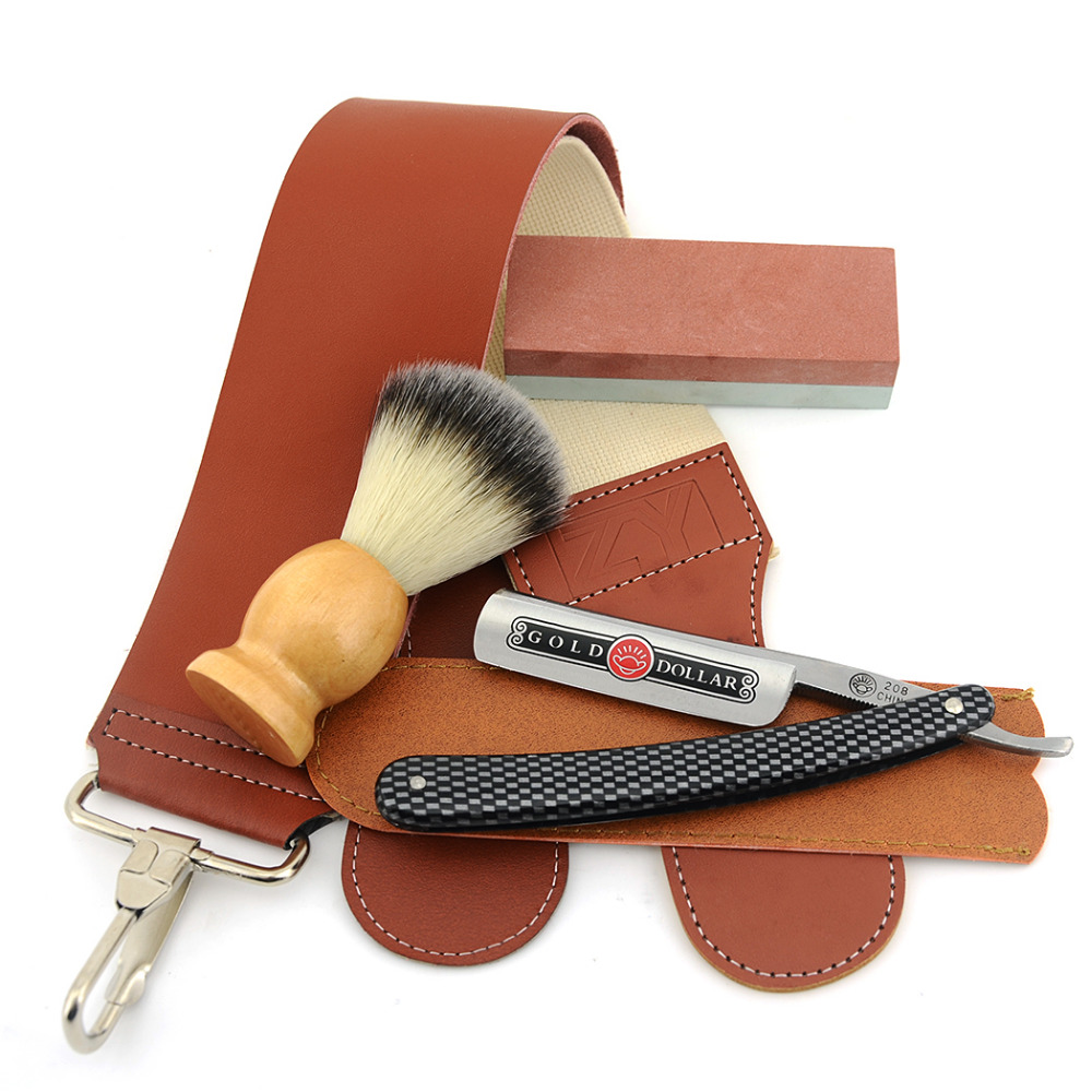 5pcs/Set Men Razor Shaving Kit Gold Dollar Straight Razor+Razor Sharpening Stone+Razor Case+Synthetic Shaving Brush+Razor Strop