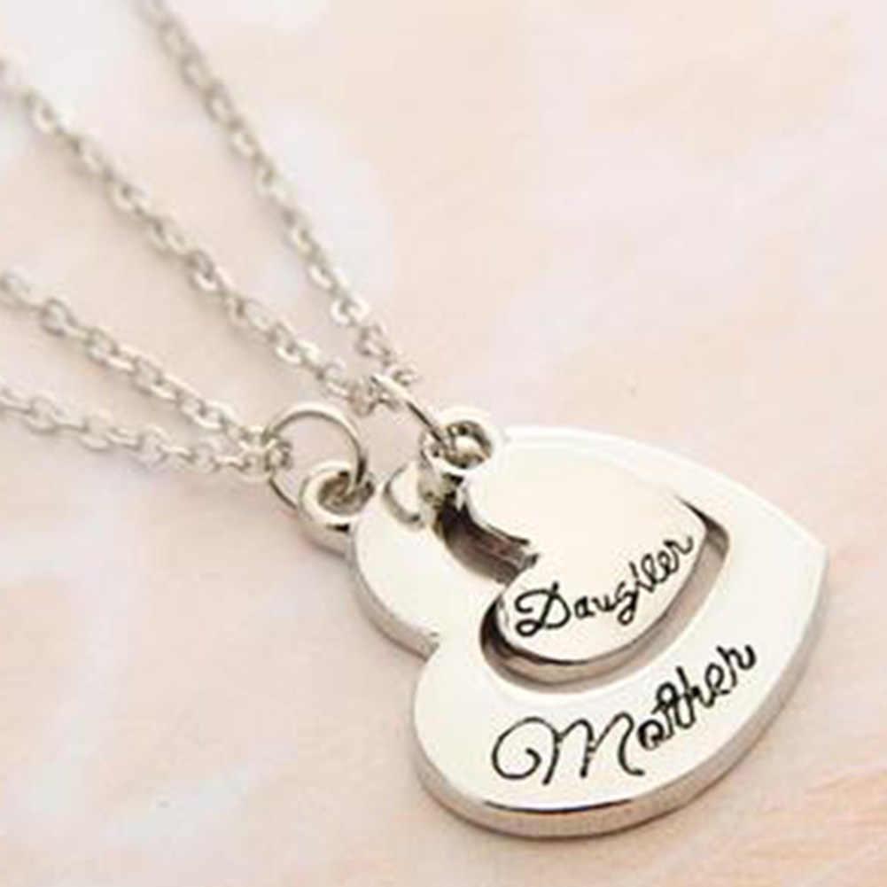¡2 pc! Venta de joyas de regalo del Día de la madre collares de empalme al por mayor madre e hija amor letras colgante collar conjunto