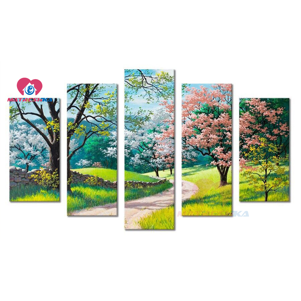 5PCS Full Diamond Embroidery tree 5d Diy Diamond Painting Full Mosaic wall art Modular pictures canvas