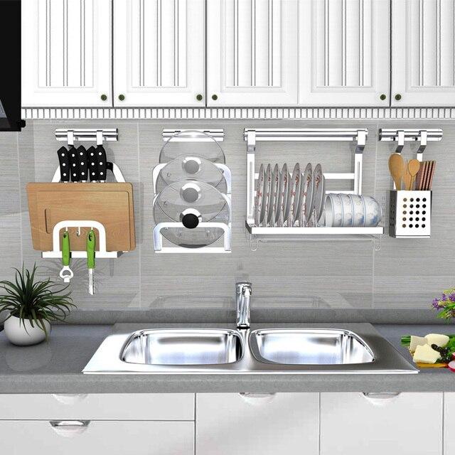 Kitchen Storage Rack Shelf Stainless Steel Wall Hanging Racks Diy Tableware Pot Lid Seasoning Organizer Holder