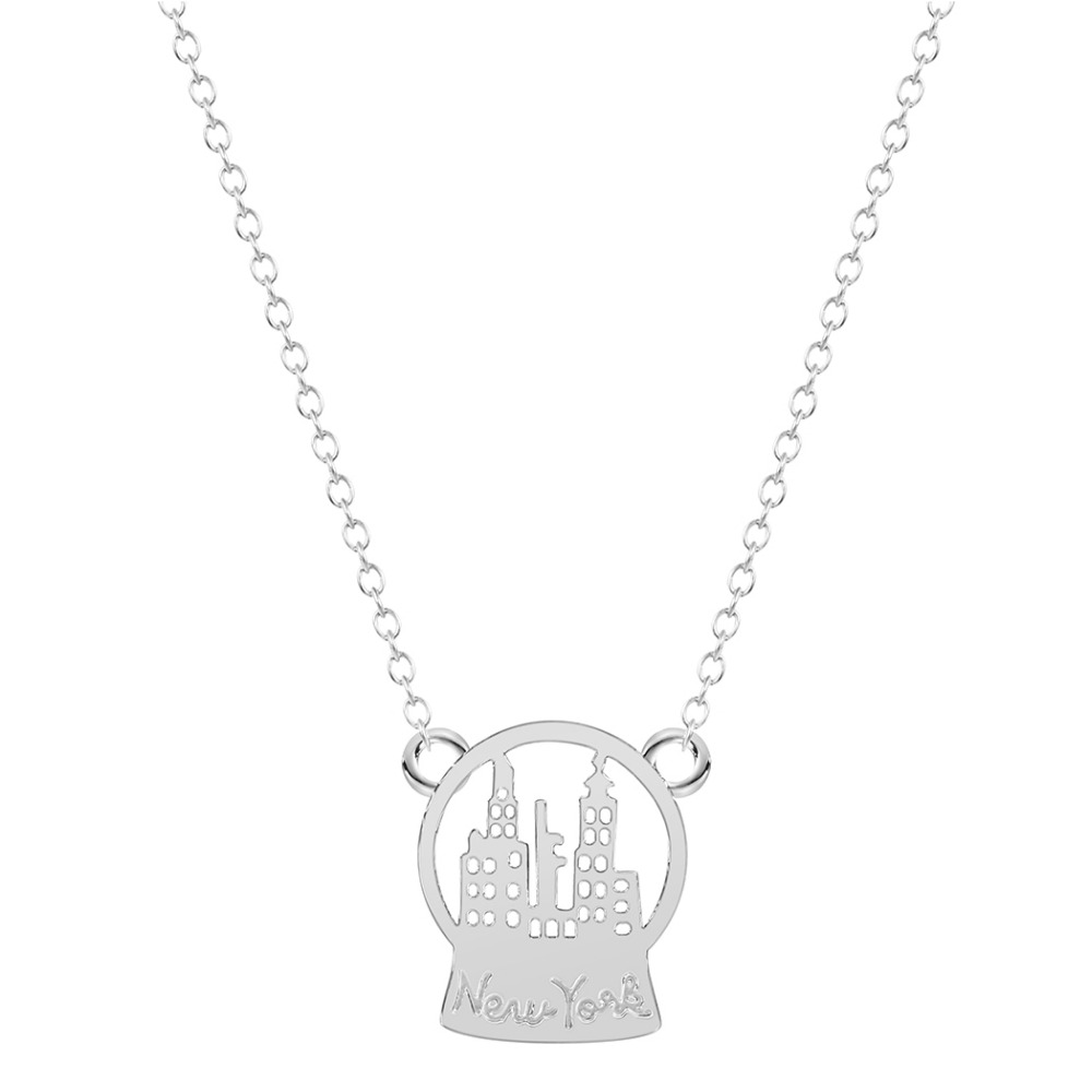 Kinitial Pcs Fashion New York Shape Jewelry Christmas Gift Snow Globe New York Charm Necklace For Women Gold Silver Plated In Pendant Necklaces From