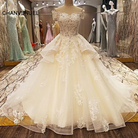 LS89652 Luxury Wedding Dress Champagne Beading Ball Gown Sweetheart Corset Bride Gown For Wedding Robe De