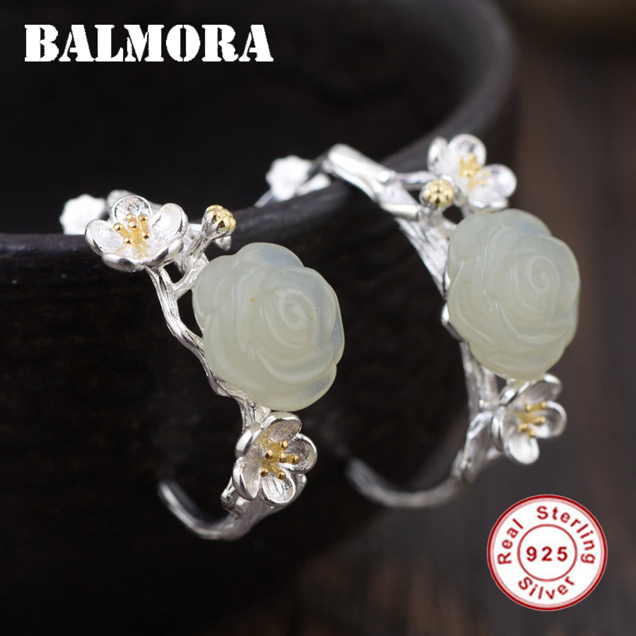 BALMORA 100% Real 925 Sterling Silver Jewelry Vintage Flower Earrings for Women Lover Gift Ethnic Silver Earrings TRS30932 a suit of ethnic rhinestoned flower necklace and earrings for women