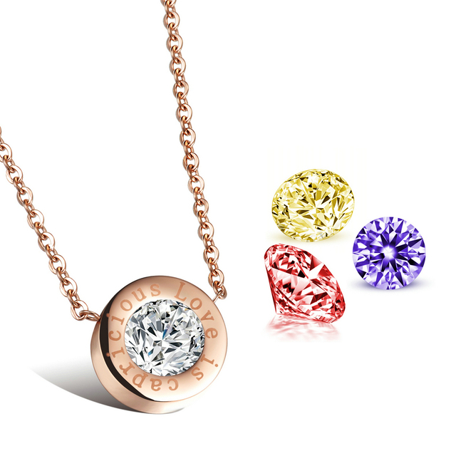 Necklace pendant interchangeable jewelry whiteredpurpleyellow necklace pendant interchangeable jewelry whiteredpurpleyellow cubic zirconia stainless steel carving aloadofball Images