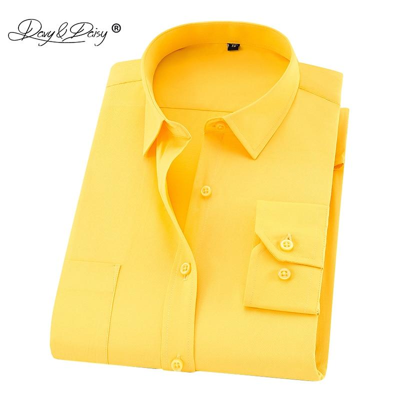 DAVYDAISY 8xl 7xl Men Shirt Long Sleeved Man Business Causal Shirts Twill White Yellow Shirt Brand Formal Shirts Soft DS275