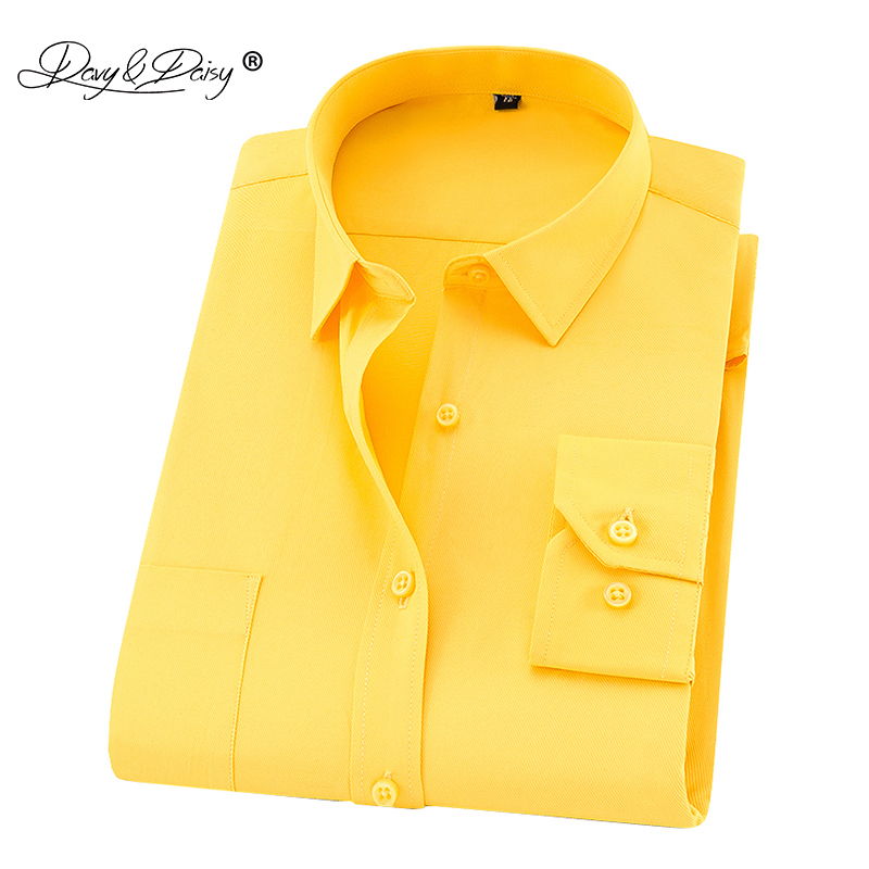 DAVYDAISY New Arrival Men Shirt Long Sleeved Man Business Causal Shirts Twill White Yellow Shirt Brand Formal Shirts Soft DS275