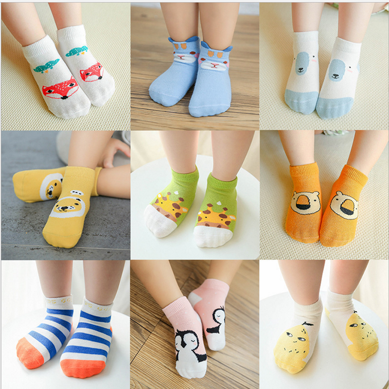 0-3years Infant Summer Anti-slip Floor Socks Cotton Short Baby Boys Girls Cute Cartoon Socks 3pairs/pack