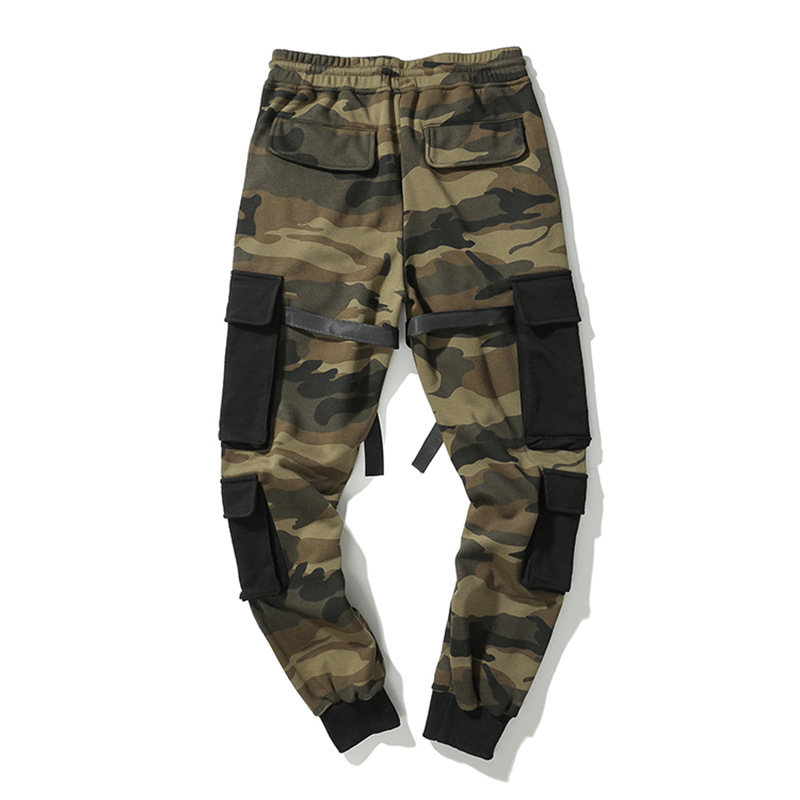 Men Fashion Hip Hop Cargo Pant Male Streetwear Multi-pocket Splice Casual Harem Pant Camouflage Trousers Jogger Sweatpants