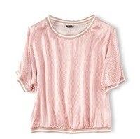 Heavy silk, satin, pink, pinstriped, bat collar, short shirt, watch out, women's T shirt.