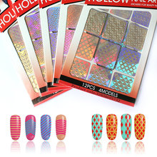 12 tips/sheet DIY Nail Art Decoration Sticker 24 kinds template selection vinyls nail art manicure stencil template decals(China)
