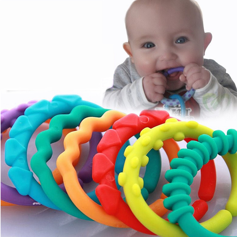 6PCS Cute Colorful Rainbow Rings Baby Teether Toy Crib Bed Stroller Hanging Rattles Toy Decoration Educational Gift Doll