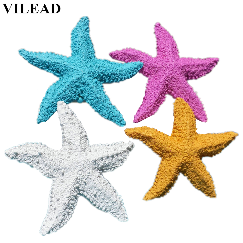 VILEAD 2.9'' Resin Starfish Figurines 4 Colors Mediterranean Style Home Decoration Mini Starfish Ornament For Taking Photo Props