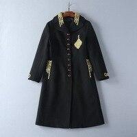В европейском и американском стиле женская одежда 2017 новая зимняя вышивка золотой нитью Набор Оже кнопки шерстяное пальто