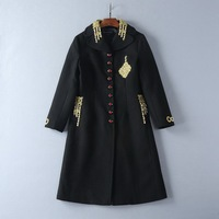 European and American women's wear 2017 The new winter Gold thread embroidery Set auger buttons Wool coat