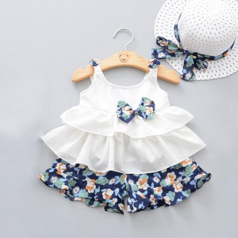 3Pcs baby girls clothing sets bowknot straped pullover top+floral print shorts +cute hat kids summer casual clothing for 0-3 ys casual bowknot lace up jazz hat