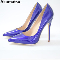 Akamatsu 10cm 12cm super high heel women shoes blue patent leather pointed toe pupms stiletto sandals bridal shoes chaussures