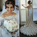 Delicate Pearl Beaded Off Shoulder Long Sleeves Mermaid Wedding Dress with Lace Train