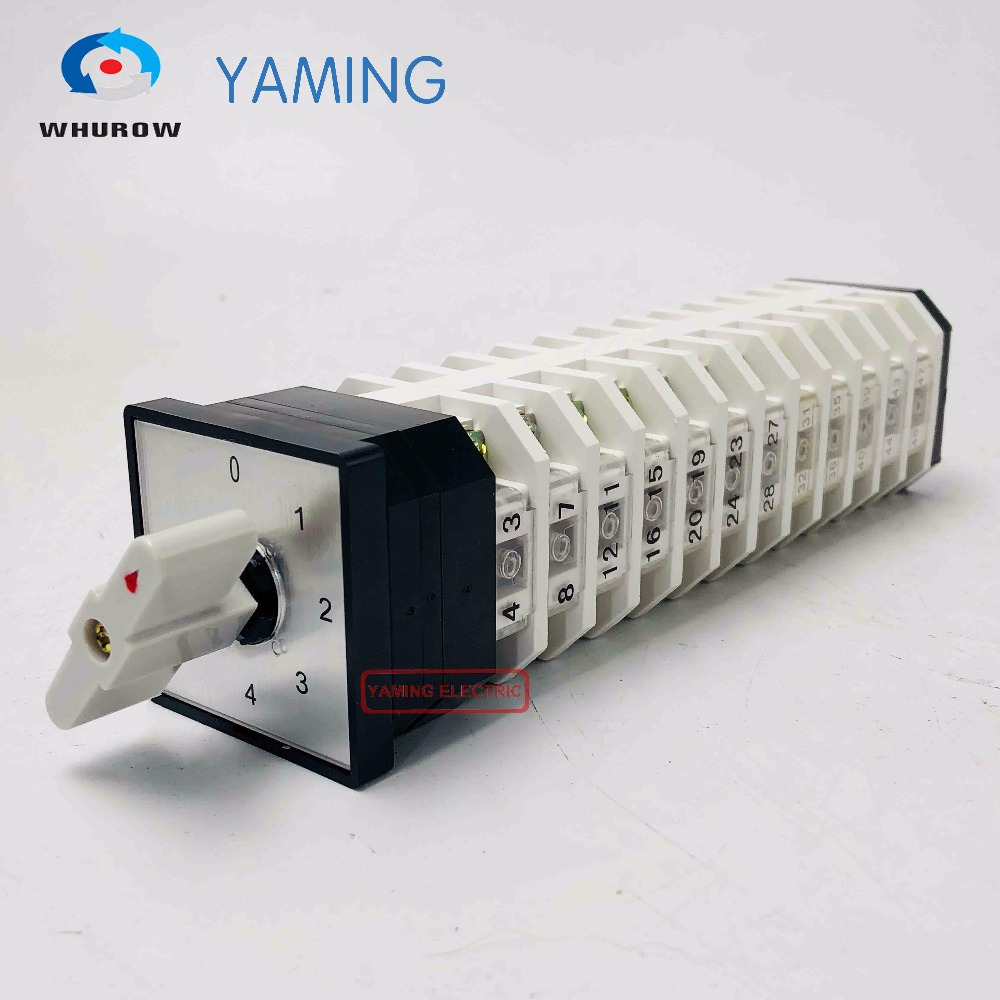 Yaming Electric LW12-16/12 Cam Switch Selector Changeover Rotary switch 0-4 position 12 knots 48 terminals 16A Power 5pcs lot d6 0mmx16mmx50mm 2 flutes flat 100