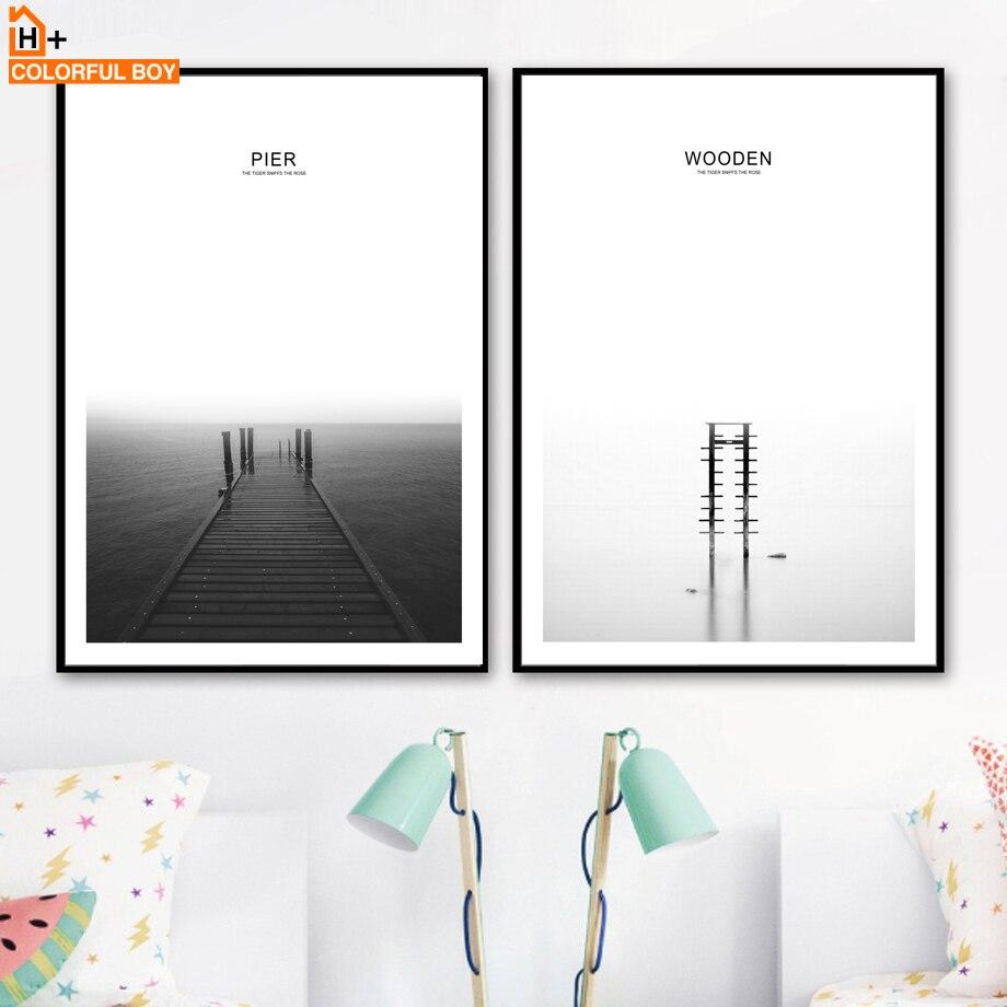 COLORFULBOY морской мост Pier пейзаж Котировки стены Книги по искусству печати холст картины Nordic плакат настенные панно для Декор в гостиную