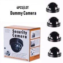 Câmera de vigilância impermeável do cctv da segurança do manequim da câmera da abóbada de 4 pces com a luz vermelha de piscamento do diodo emissor de luz ao ar livre câmera interna da simulação