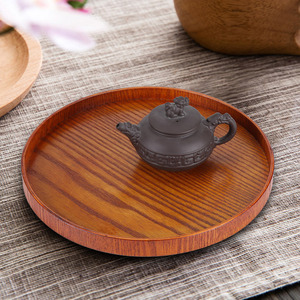 Round Natural Wood Serving Tray Wooden Plate Tea Food Server Dishes Water Drink Platter Food Bamboo Rectangular(China)