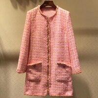 Party Pink Dress Women Spring O neck Long Sleeve Zipper Dress With Pockets 2019 Fashion Women New Tweed Dress