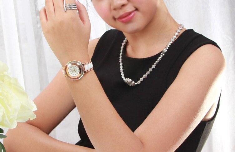 Mode multi face brillant cristal Montre classique MELISSA femmes en céramique Montre bracelet à la mode MELISSA Relogios Montre Femme F6285 - 4