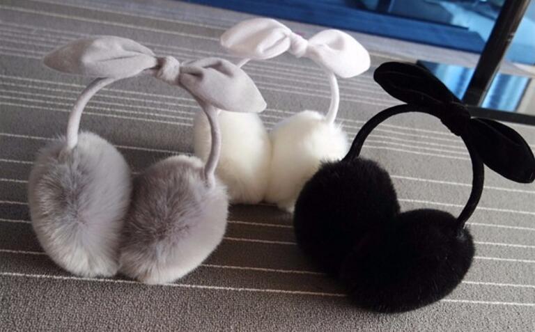 5pcs Fur Earmuffs Winter Warm Earmuffs Female Faux Rabbit Earmuffs Bowknot Cute Ear Decoration Ear Protection Cute Multi Colors