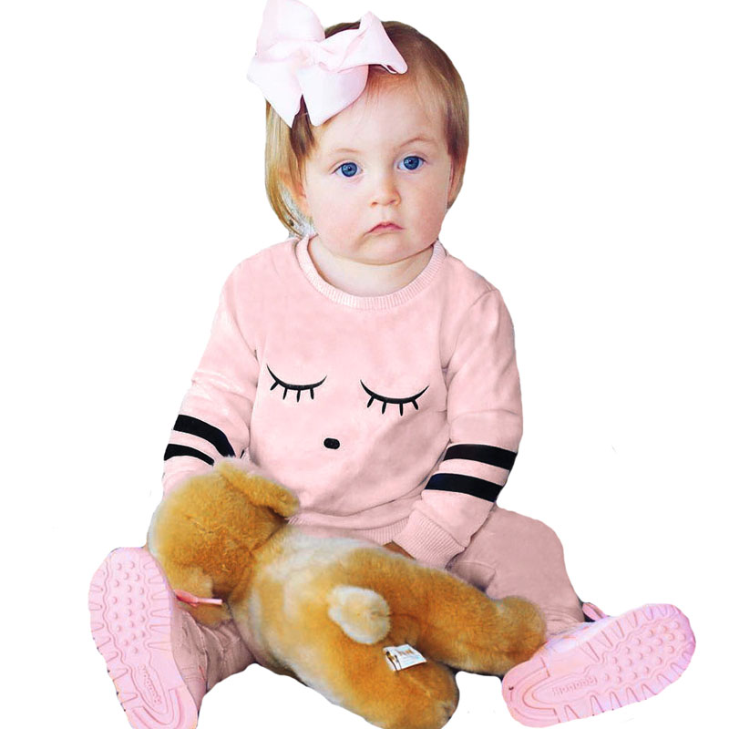 Infant Baby Girl Clothing Set Long Sleeve Eyelash T Shirt+Pants 2pcs Girls Clothes Autumn Pink Outfits Kids Clothing Set 6M-24M 3pcs 2018 fashion baby girls clothes set long sleeve flower t shirt pants headband newborn infant baby girl toddler clothing set