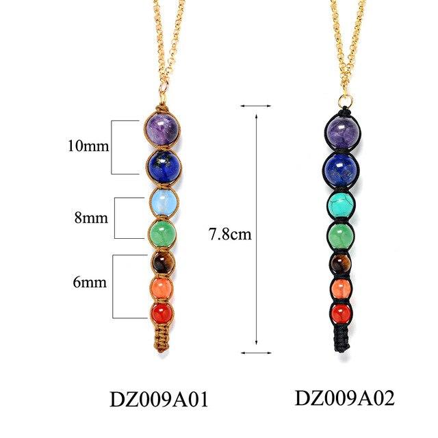 Фото женское ожерелье с 7 цветными бусинами из лавы ожерелья и подвески цена