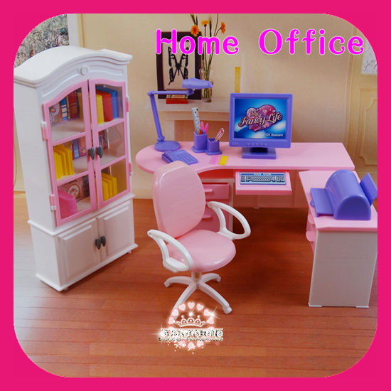 Computer Desk And Chair Set Slide Under Table Diy Dollhouse Home Office Bookcase Sets Toy Accessories Furniture For Dolls Barbies Kurhn 1 6 Doll