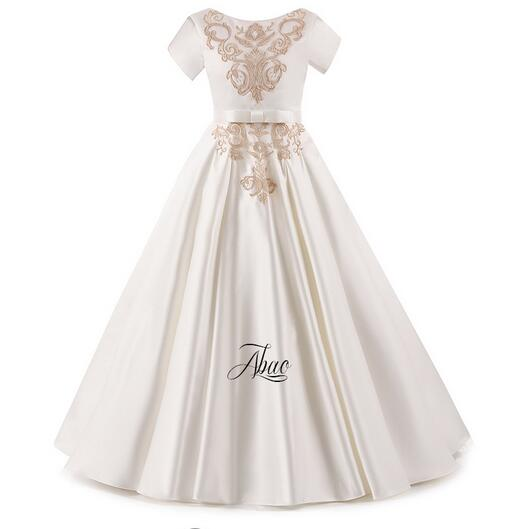 Girl's Formal Dresses 2017 Flower Girls Princess Dresses Kids Long Satin Party Birthday V-Neck Gowns Children's Wedding Dress long criss cross open back formal party dress