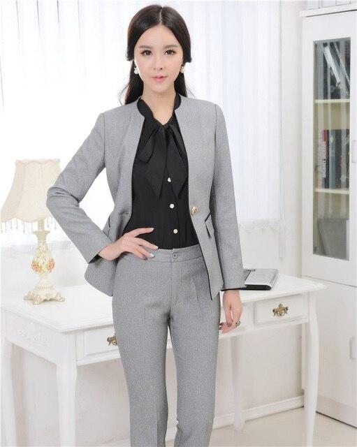 Más el Tamaño de Las Señoras Formales Trajes de Pantalón para las Mujeres  Trajes de Negocios c0c7e66a1dde