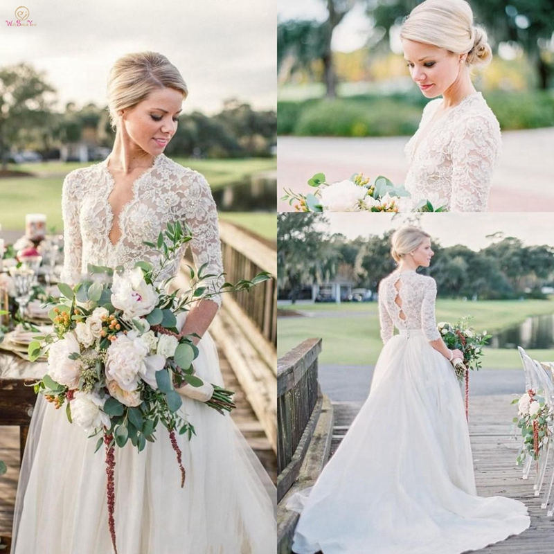 2019-summer-bohemian-country-wedding-dresses-a-line-v-neck-lace-beaded-tulle-long-hollow-back-court-train-plus-size-formal-bridal-gowns