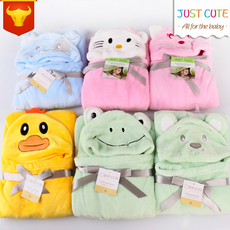Winter Cartoon Baby Blankets Thicken Double Layer Fleece Infant Swaddle Envelope Stroller Wrap for Newborns Baby