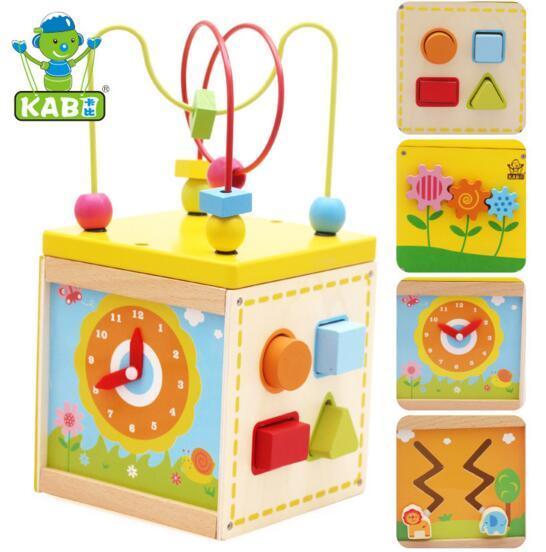 Детские Красочные Деревянные Бусы Вокруг toy box форма матч часы обучения Образовательные Игрушки для Детей Kids