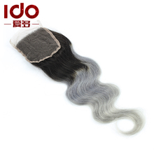 35% Off!!Two Tone Dark Roots 1B/Grey Silver Ombre Brazilian Lace Closure 1B/613 Blonde Human Hair Lace Closure Free/2/3 Part