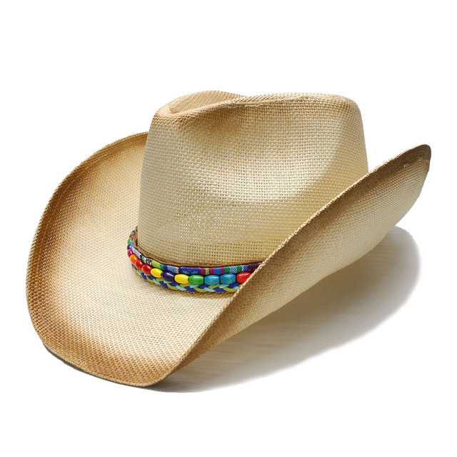 Unisex s Summer Wide Brim Straw Beach Cowboy Western Cowgirl Fedora Hat  National Style Wood Beads Leather 8ef266d5fc09