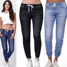 Женские летние брюки, новинка, Стрейчевые джинсы для женщин, плюс свободный деним, повседневные укороченные джинсы с завязками Y521