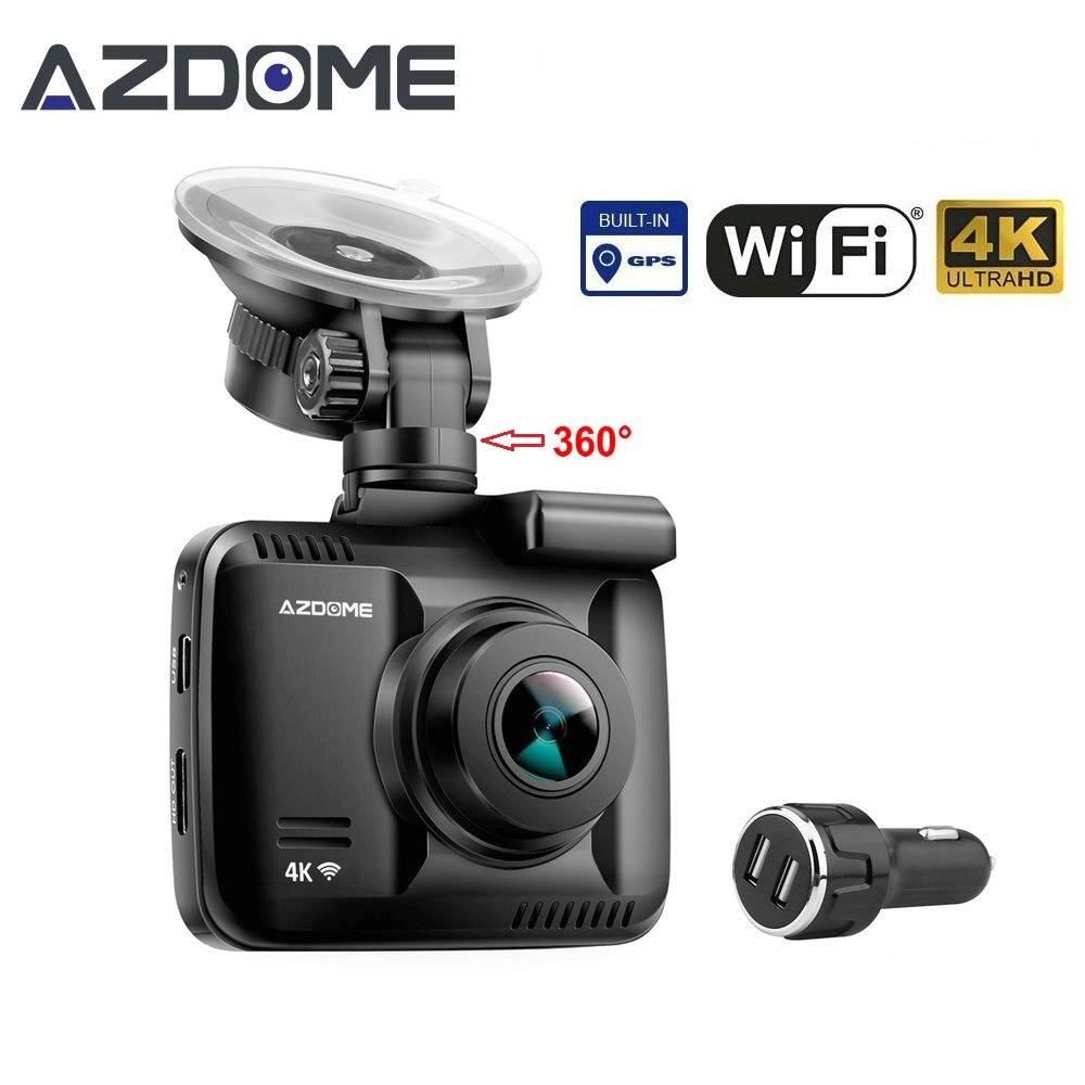 Gs63h автомобиля регистраторы 4 К 2880x2160 P тире Камера dashcam с Wi-Fi GPS G-Сенсор петли запись Парковка Мониторинг автомобильный Камера azdome