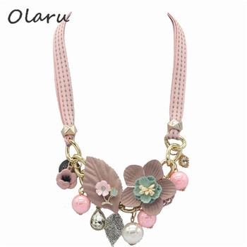 Olaru Brand Korea New Jewelry Fashion Cloth Imitation Flower Pearl Choker Neckalce Woman Maxi Statement Necklace Accessories