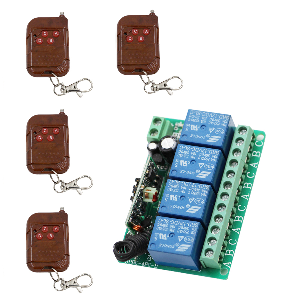 Universal DC12V 4CH Wireless Remote Control Switch System Receiver with 4 Peach Transmitter Use for Garage Roller Curtain new restaurant equipment wireless buzzer calling system 25pcs table bell with 4 waiter pager receiver