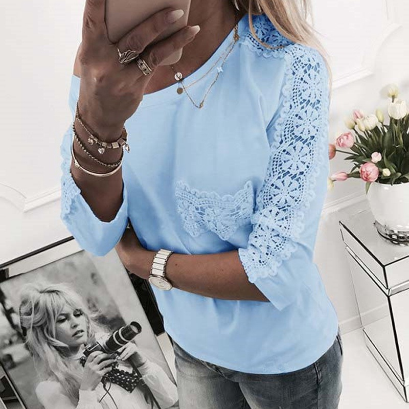 2018 Women spring new sexy lace stitching off-the-shoulder Hollow Out T-shirt pure color long sleeve Women cloth