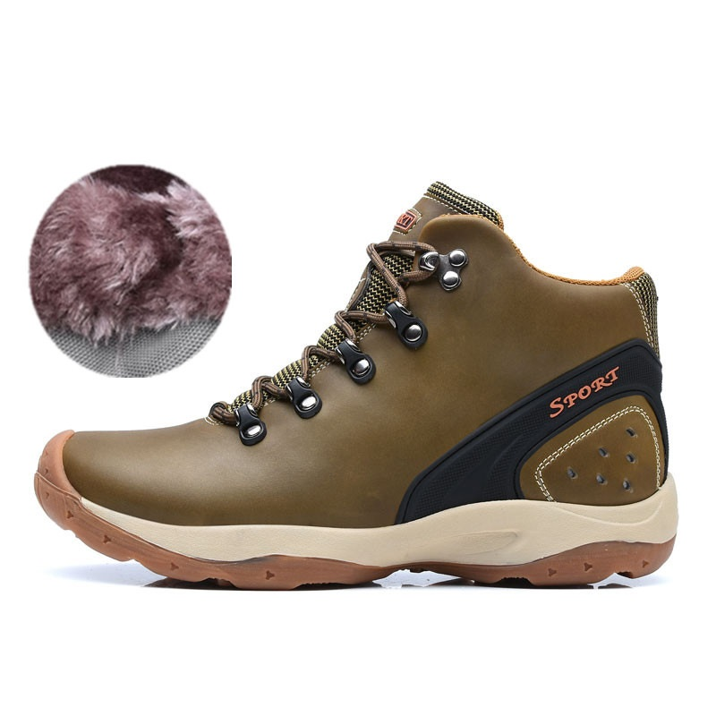 Outdoor Sport women High Top Running Shoes Genuine Leather Running Boots Sneakers women Plus Big Size peak sport men outdoor bas basketball shoes medium cut breathable comfortable revolve tech sneakers athletic training boots