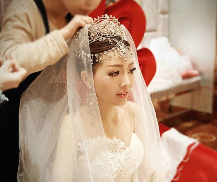 HIMSTORY Luxury Bridal Wedding Rhinestone Tiara Crown Tassel Wedding Hair Accessories Jewelry Brazilian Wedding Hair Jewelry in Hair Jewelry from Jewelry Accessories